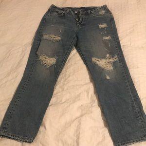 High waisted boyfriend wripped  jeans